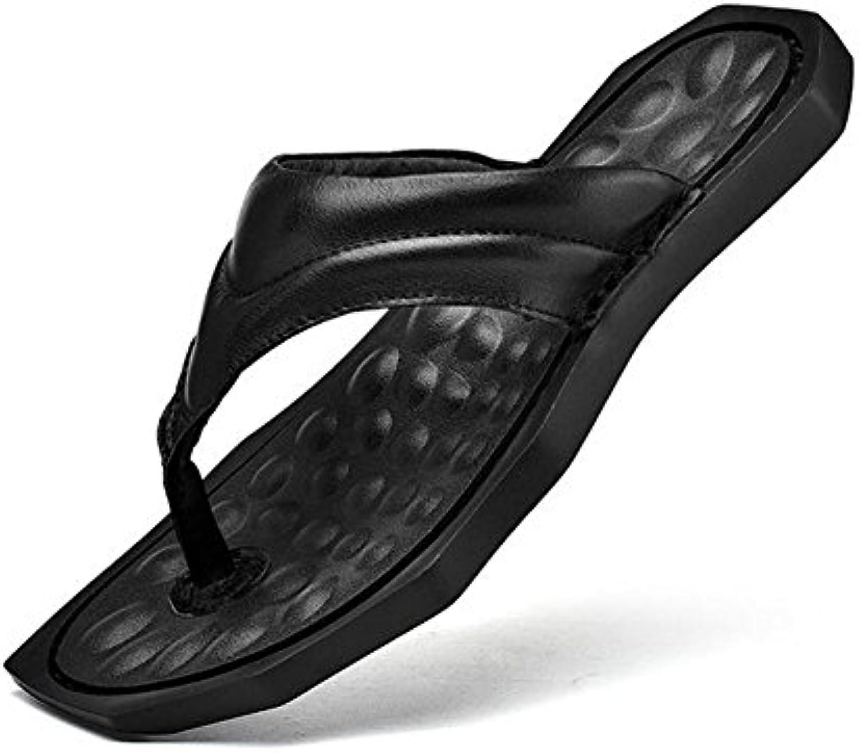 CAI Männer Echtes Leder Rutschfeste Flip Flops Sommer Komfort/Massage/Freizeit Hausschuhe  Flip Flops Herren