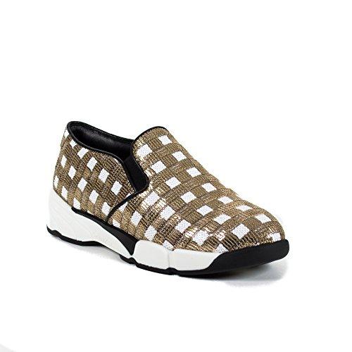 Scarpe Donna PINKO SEQUINS1H207H Y23z Sneaker tessuto ricamato Primavera Estate 2016 Bianco oro
