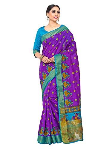 Kupinda kalamkari Style Raw Silk saree color: Purple (4190-SALN-10-PT-VLT)