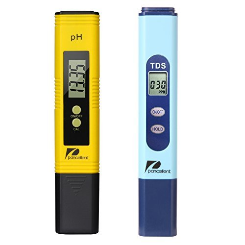 Pancellent Wasserqualitätstest Meter TDS PH 2 in 1 Set 0-9990 PPM Messbereich 1 PPM Auflösung 2% Ablesegenauigkeit (Gelb) (Teststreifen Salz-pool)