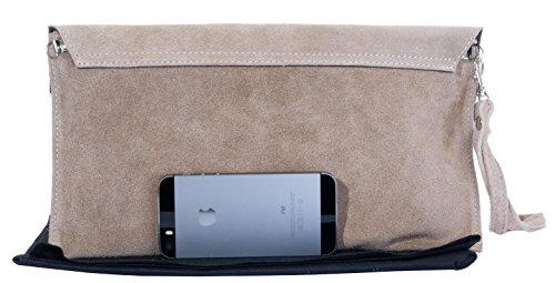 Embrayage de Design enveloppe, poignet, épaule ou sac bandoulière fabriqué à la main en cuir daim italien.Comprend un sac de rangement protecteur marque Beige