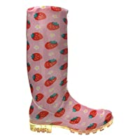 Womens Ladies Girls Pink Strawberry Pattern Wellies, Snow Winter Rain Wellington Boots - P346