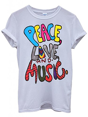 Peace Love and Music Cool Funny Hipster Swag White Blanc Femme Homme Men Women Unisex Top T-Shirt -Medium