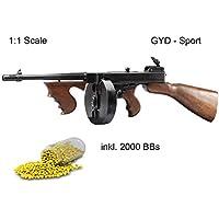 Softair Thompson 1:1 Größe, ABS Qualität + Trommelmagazin + 2000er Kugel Set