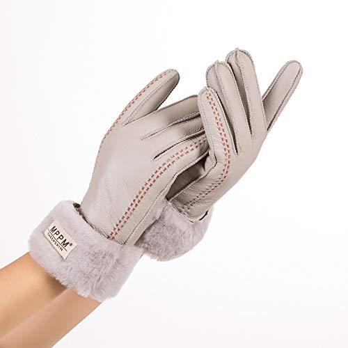 CCMOO Winter Damen Handschuhe Echtes Leder Schaffell Winterhandschuhe Hot Warm Stylish Vollfinger Damen Handschuhe Fäustlinge-Hellgrau, One Size Geschenke (Hot Leder Damen Handschuhe)