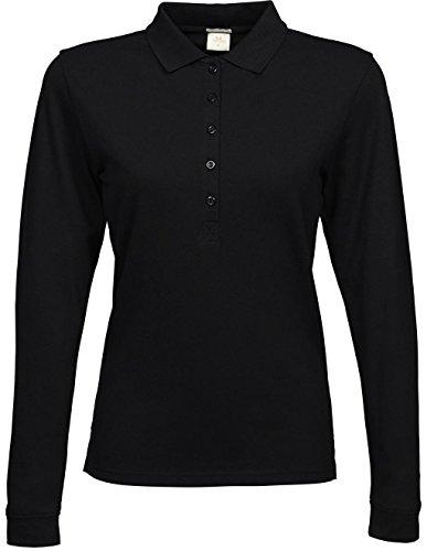 Tissu stretch pour femme manches longues Polo Noir