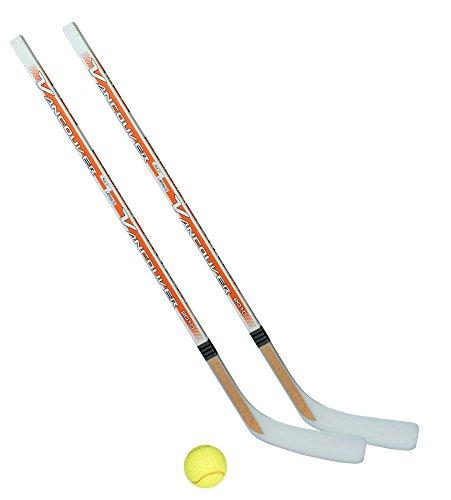 Unbekannt Streethockeyschläger-Set Junior 6: 2 Vancouver-Schläger 115cm gerade Kelle & Tennisball