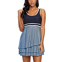 TUTUESTHER Bathing Suits for Women Plus Size Swimwear Tummy Control Swimsuits Swim Dress Tankini with Boyshorts(Large(US 10-12), Navy Blue Stripe