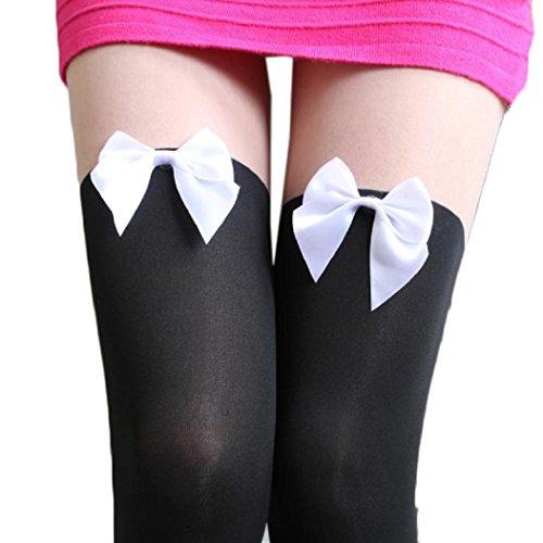Lace Tights Bogen Muster (overknee strümpfe Kolylong Frauen Tätowierung Mock Bogen Sheer Strümpfe Strumpfhosen Schwarz2)