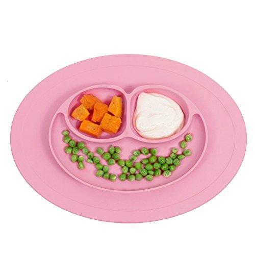 Isuper Baby Platzdeckchen rosa Frosch Teller 3-Sektion Essenplatte und Platzmatte aus FDA-zertifiziert Silikon Rutschfeste Schüssel Tischset Tischunterlage Untersetzer Kinder Babyteller Kinderteller Babyschale Teller-Unterlage-Kind Pink (Kinder-geteilte Platte)