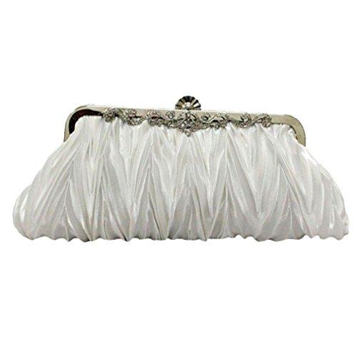 ACVIP Borsetta Diamante Finto Decorativo a Pieghe Bianco