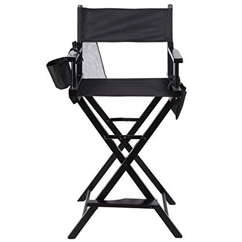 Alondy Heavy Duty pliant télescopique Maquillage Artiste Director Chaise en bois pliable avec accoudoirs Repose-pied côté Sacs support pour bouteille d'eau