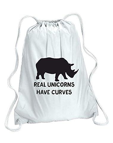 véritable Licornes ont courbes Corps image Positive Rhino Funny Unisexe école sac à dos Taille unique blanc