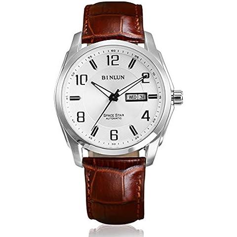 binlu hombre al aire libre impermeable mecánico reloj con día y date-brown