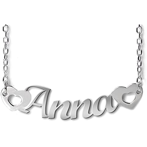 Girocollo con nome Anna e cuori in argento 925 rodiato anallergico. Made in Italy.