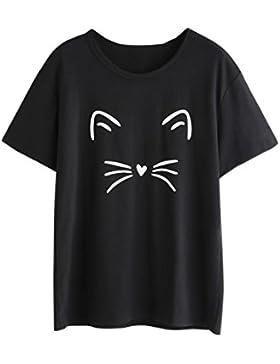 Yeamile💋💝 Camiseta de Mujer Tops Negro Blusa Causal Ocasionales Camiseta Causal de las Mujeres Ocasionales de...
