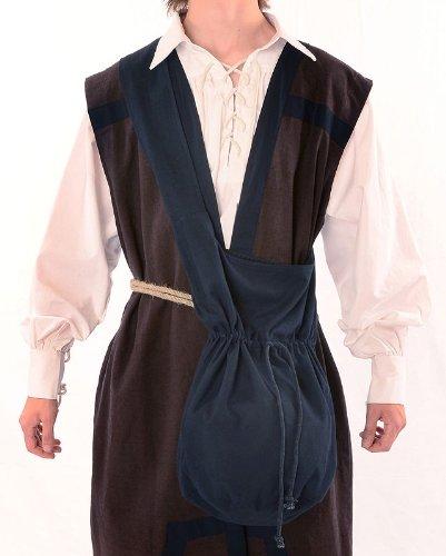 Mittelalter Umhänge-Tasche braun schwarz rot grün blau beige Baumwolle/Leinenlook Mittelalterliche Kleidung (one size, schwarz) - 3