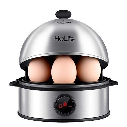 Eierkocher, Holife Eierkocher Testsieger Edelstahl Egg Cooker für 1-7 Eier mit Härtegradeinstellung/Überhitzungsschutz/Messbecher mit Eipick 360W