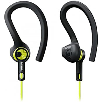 Philips SHQ1400CL/00 ActionFit Sport Headphones (3 Wearing Styles, Optimal Sound Performance) - Black/Green
