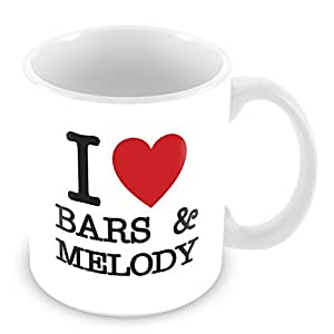 I Love Bars & Melody Personalised Mug Gift (customise with any name, message, text, photo or colour) - Celebrity fan tribute