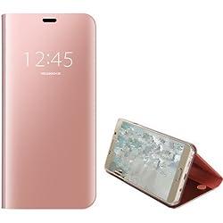 Meimeiwu Clear View Etui Flip Folio Coque Smart Cover Ultra-Mince Translucide Miroir Housse Etui À Rabat pour Samsung Galaxy S7 Edge - Rose Or