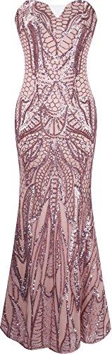 Angel-fashions Damen eingekerbt tragerlos Paillette Spalte Scheide Stock Lange Kleid Medium