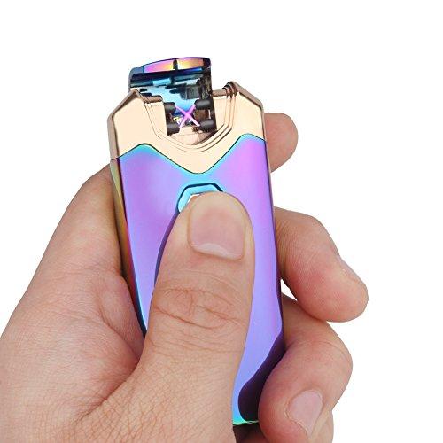 LAZU Elektronisches Feuerzeug Aufladbar, Lighter Dopple Lichtbogen Feuerzeug USB Elektro Winddichte Flammenlose Plasma Feuerzeug