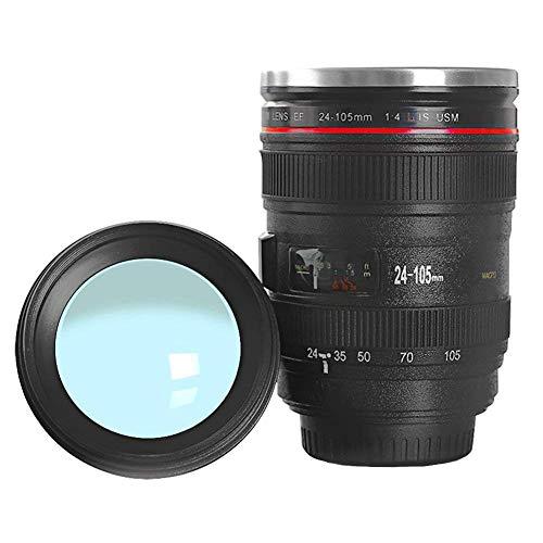 GermanBox Reise - Kaffeebecher/Tasse Thermobecher in Kamera/Objektiv Design mit Deckel, Doppelwandige Edelstahl Thermobecher - 350ml (schwarz)