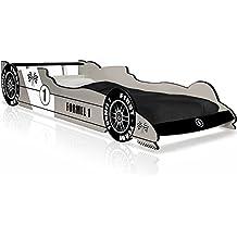 Kinderbett Jugendbett Juniorbett Bett Autobett F1 Formel 1 Rennbett Spielbett Kindermöbel (95 cm x 40 cm x 230 cm). inkl. Lattenrost silber