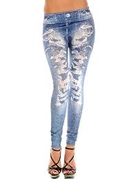 Amour-Damen Hose Leggings Röhre Jeggings Treggings Strech Jeans Look Einheitsgröße passt für XS zu M (petite, F012b)