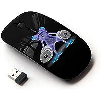 [Peculiar-Star] Colorato stampato ultrasottile ottico senza fili 2.4Ghz mouse-Black [Divertente palestra Bodybuilder Neon (Stampato Body)