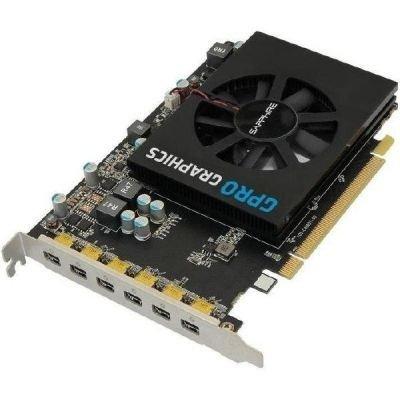 SAPPHIRE GPRO 6200 4GB GDDR5 PCI-E EYEFINITY 6 EDITION 1-slot active Fan w/ ball-bearing 50W 2xmDP to SL-DVI Passive Cable BROWN BOX