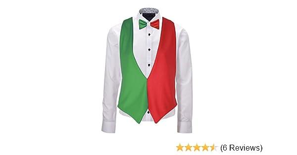 Adults Italy Flag Backless Waistcoat /& Bow Tie Italian Waiter Outfit Accessory