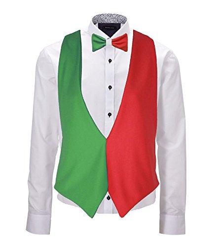 Flagge Kostüm - Rückenfreie Weste und Fliege, Italien-Set, italienische Flagge, 6-Nations-Rugby-Zubehör