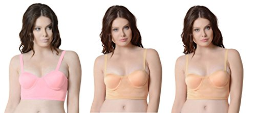 Secret World Pink & Beige Colour Back Six Straps Cotton With Padded Push-up Women's Bra (Pack of 3)
