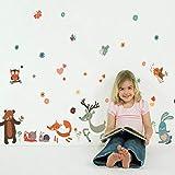 BAIYUDE Cartoon Wandaufkleber Deer Fox Cubs Schnecke Igel Aufkleber Tiere Wohnkultur Kinderzimmer Poster Größe: 50X70Cm