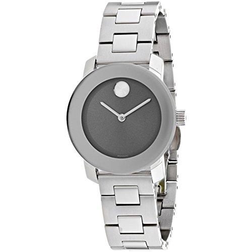 Movado Women's Bold 30mm Steel Bracelet & Case Swiss Quartz Watch 3600436