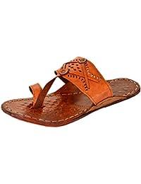 AMPEREUS Men's Brown Leather Kolhapuri Chappal
