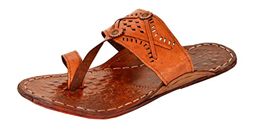 AMPEREUS-Mens-Brown-Leather-Kolhapuri-Slippers