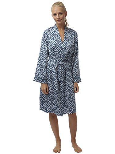 Meine Damen Silk Touch Satin Kimono Bademantel in Petit Fleur Drucken Faggotting Verkleidung Blau 48 (Satin Petite)
