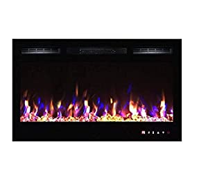 TruFlame 2018 NEW PREMIUM PRODUCT 36inch Black Wall Mounted Electric Fire with 3 colour Flames and can be inserted (Pebbles, Logs and Crystals)