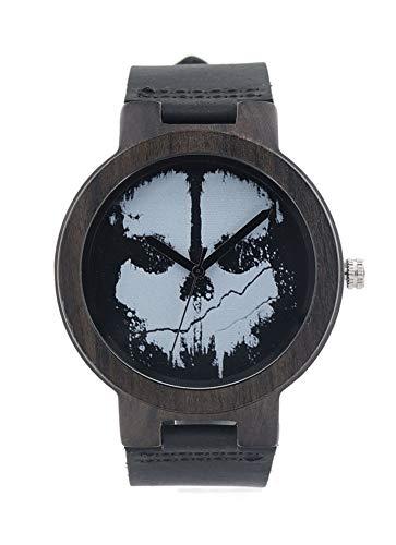 Holzuhren für Männer Armbanduhr Holz Totenkopf Holzuhren mit Lederband Lässige Luxusuhr für Männer