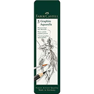 Faber-Castell 5 Piece Quality Water-Soluble Graphite Aquarelle Pencils in a Tin, Including HB, 2B, 4B, 6B and 8B