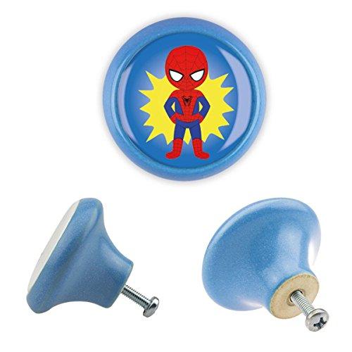 Möbelknopf Keramik 06184B Kinder Superhelden Superheroes Antik Porzellan Shabby Chic Möbelknöpfe Griffe Knäufe für Schrank Schublade Kommode Kinderzimmer