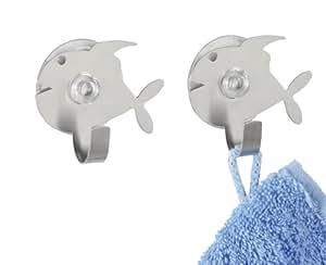 Wenko 4466240100 poisson crochets ventouse lot de 2 acier affin cuisine maison - Poisson a ventouse ...