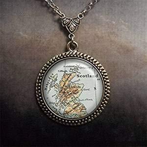 Halskette mit Schottland-Karte, Schottland-Schmuck, Landkarte Schmuck, Hebrides Highlands Orkney Islands
