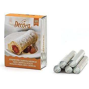 DECORA Confezione Cannoli Mignon Diametro 1,3 cm, Lunghezza 8 cm, Alluminio, 10 Pezzi