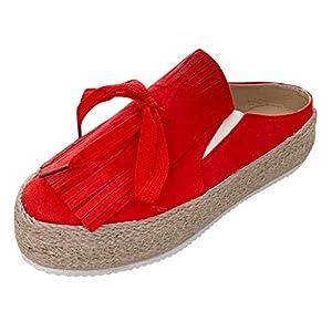 Toasye Damen Freizeitmode Runden Kopf Dicke Quaste GrößE Plattform Schuhe Freizeitschuhe Freizeit Mode Wedges Round Toe Fringe Slip-On Boots