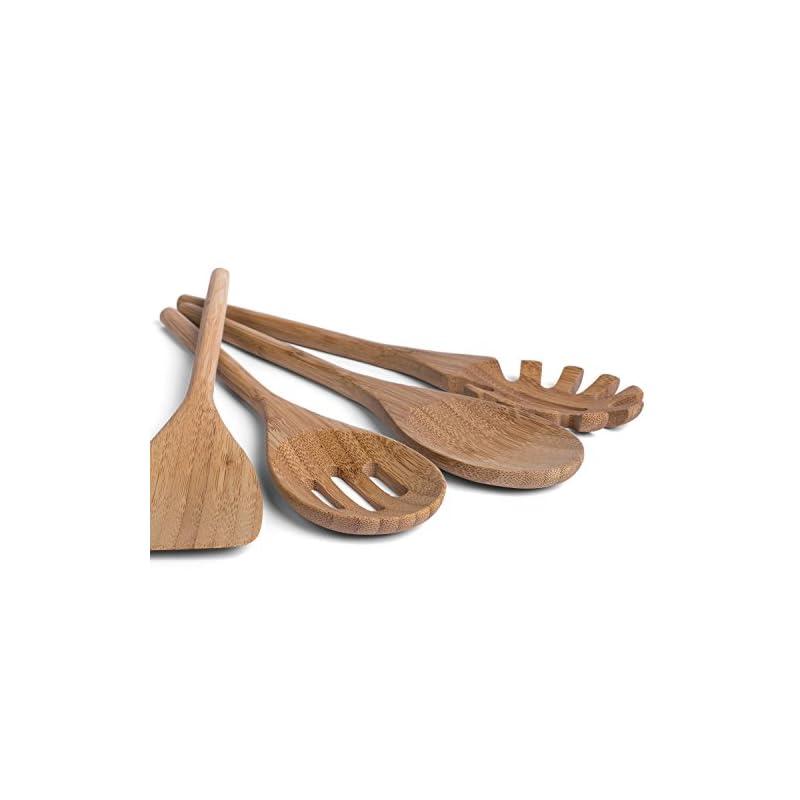 Basil Holz Kchenhelfer Set Im Praktischen 4er Set Natrliche Bambus Kchenutensilien Holz Kochgeschirr Inklusive Kochlffel Pfannenwender Suppenkelle Salatbesteck Kchenbesteck Tausende Begeisterte Kunden