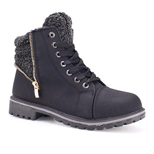 Damen Herren Boots Unisex Stiefeletten M4-black
